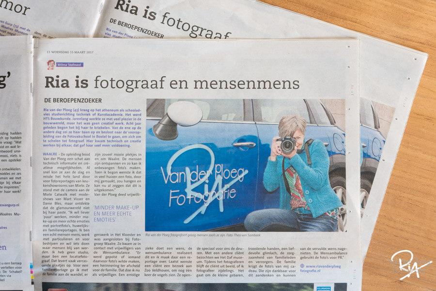 2017 artikel in Schakel Ria van der Ploeg Fotografie