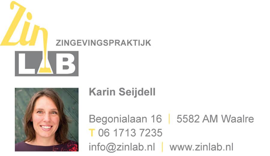 Visitekaartje Zinlab Karin Praktijk